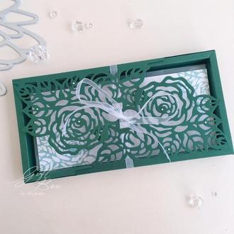 "Gift Box ""Rose"" Цвет 1 (изумруд)- открытка в коробочке"