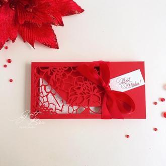 """Gift Box """"Florale"""" Цвет 5 (красный)- открытка в коробочке"""