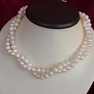 """Серебряное ожерелье из белого  жемчуга """"Жаклин"""""""