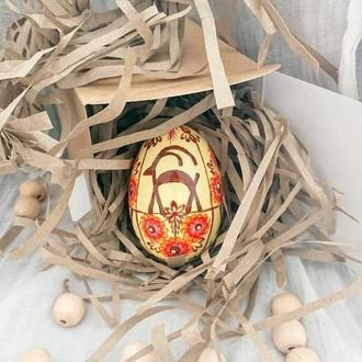 Подарочное деревянное пасхальное яйцо писанка Олени
