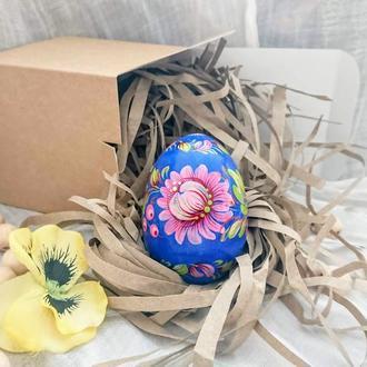 Подарочное деревянное пасхальное яйцо писанка малеванка.