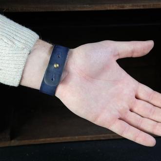 Браслет на руку Кожа Итальянский краст цвет Синий