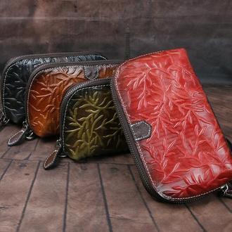 Кожаный кошелек веточка