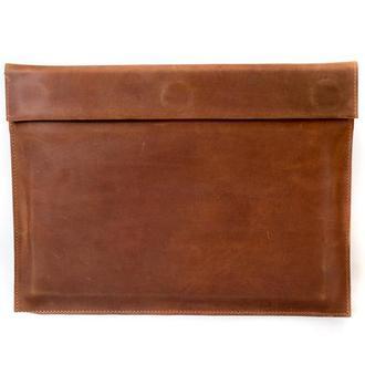 Кожаный чехол для Macbook на скрытых магнитах. 03007/коньяк