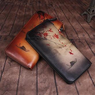 Женский кожаный кошелёк с уникальной росписью