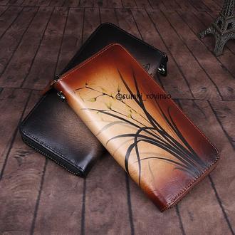 Кожаный кошелек с росписью