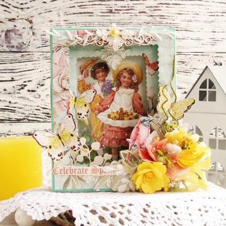 Весенняя открытка-тонель на 8 марта или Пасху