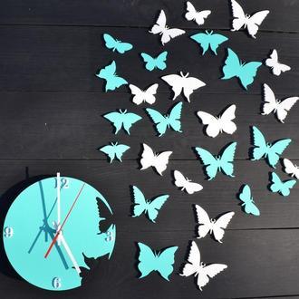 Деревянные настенные часы, часы бабочки,
