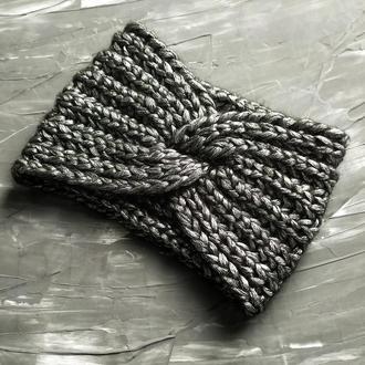 Вязаная повязка, женская повязка-чалма чорная