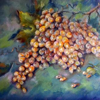 """Картина с фруктами натюрморт масло холст """"Гроздь винограда"""""""