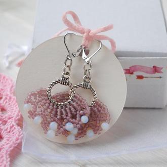 """Серьги """"Цветок лотоса"""" из японского бисера и лунного камня"""