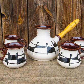 Набір кавовий на 4 особи  400 мл. декор Ґаларетка чорно-білий