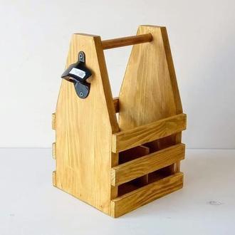 Ящик деревянный пивной для 4-х бутылок