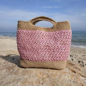 Пляжная сумка из джута, сумка-шоппер