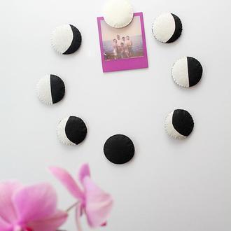 Фази місяця, фазы луны. Набір Магнітів на холодильник (8 шт)
