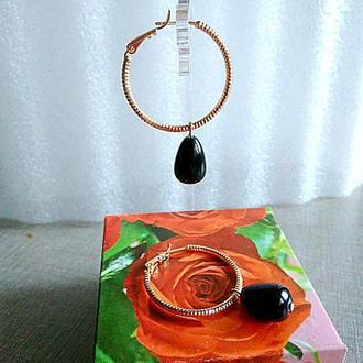 Серьги-кольца с агатом, медзолото