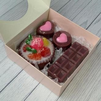 Сувенирное мыло: набор пирожное, шоколадка