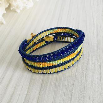 Желто-синий кожаный браслет Chan Luu (Чан Лу)