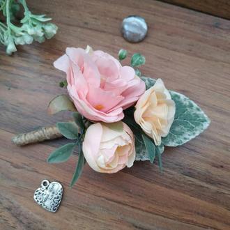 Бутоньерка Персиково-розовая Бутоньерка для жениха Бутоньерка для свидетеля