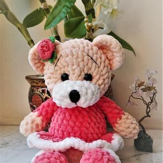 Медвежонок (ведмежа) вязаный плюшевый в платье, мягкая игрушка