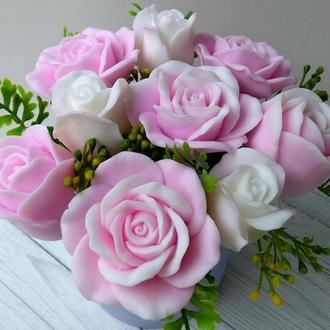Сувенирное мыло: композиция из 9 роз, мыльный букет