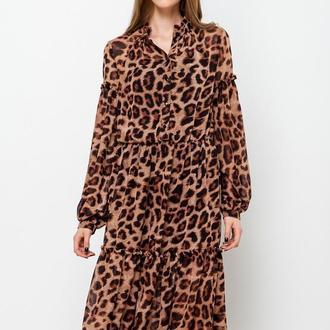 платье из шифона пышный рукав леопард