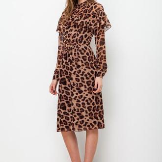 шифонова сукня з воланом леопард