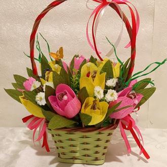 Корзинка цветов из конфет- подарок на  день рождения