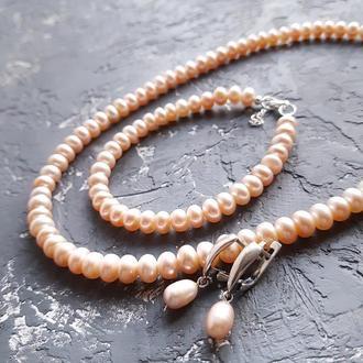 Срібло і натуральні перли комплект намисто браслет сережки