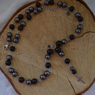 Розарий (бусы-четки) унисекс из обсидиана и гематита с крестиком ′Молитва′
