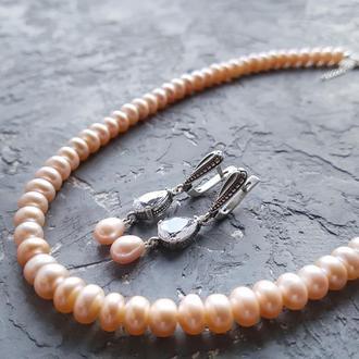Срібло і натуральні перли комплект намисто і сережки з кристалами
