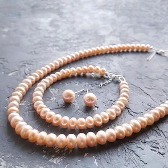 Серебро и натуральный жемчуг комплект ожерелье браслет серьги