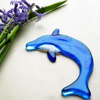 Декор из стекла дельфин, фьюзинг декор рыбки, стекло в интерьере, украшение для сада, украшение дома