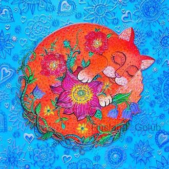 Витражная картина Рыжая кошка Рисунок кота Роспись на стекле Котик с цветами Весна Принт подарок