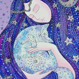 Витражная картина Лунная богиня с кошкой Рисунок Белый котик Роспись на стекле Месяц Луна Принт