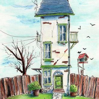 Иллюстрация домика в мультяшном стиле