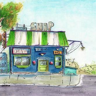 Иллюстрация магазина и заправочной станции
