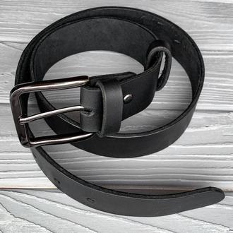 Черный мужской ремень из натуральной кожи, ширина 4 см, длина индивидуальная на заказ