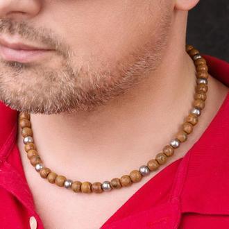 """Коричневое мужское ожерелье из керамики """"Rebel"""""""