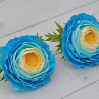 Резинки детские голубые с цветами ранункулюсами Голубые заколки для волос с цветами