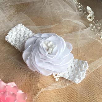Біла ажурна повязочка для дівчинки, белая повязка детская