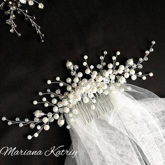 Гребінь для нареченої, гребень свадебный, украшения в прическу