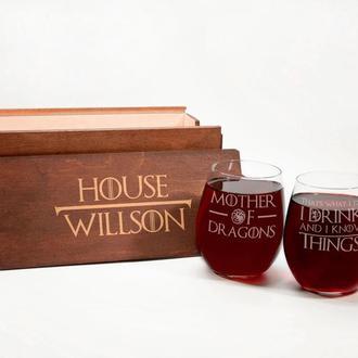 Набор бокалов для вина с гравировкой «Игра престолов» в именной подарочной коробке