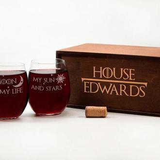 Набор винных бокалов с гравировкой «Игра престолов», подарок на юбилей