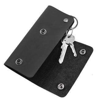 Ключница из матовой черной кожи HELFORD Кросс blk (1133485655)