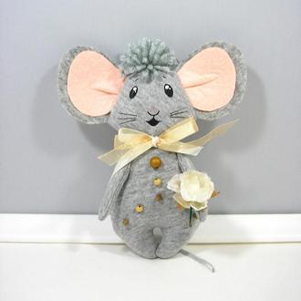 Цветочный мышонок в бежевом Нежный подарок девочке на 8 марта Весенний декор