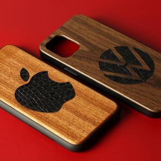 Чехол из дерева с кожей крокодила для iphone SE/6s/X/Xr/Xs/7/8 plus/11/11Pro/11ProMax