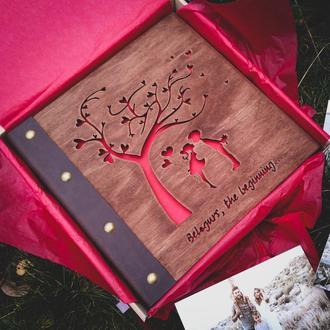 Фотоальбом із дерева та шкіри   альбомы свадебные, семейные, подарок на годовщину, на 8 марта