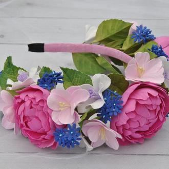 Розовые пионы обруч для волос с цветами Цветочный ободок цвета фуксия