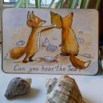 """Авторская открытка, ручной работы """"Can you hear the Sea?"""""""
